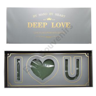 """VIRÁGDOBOZ """"DEEP LOVE"""" 1/12 SZÜRKE, OÁZISSAL 61x26x10 cm"""